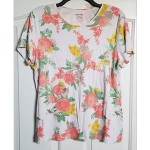 Croft & Barrow The Classic Floral Tee Shirt XL Top